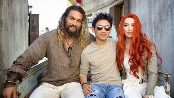 Amber Heard posted a picture with Jason Momoa and James Wan. (Instagram/Amber Heard)