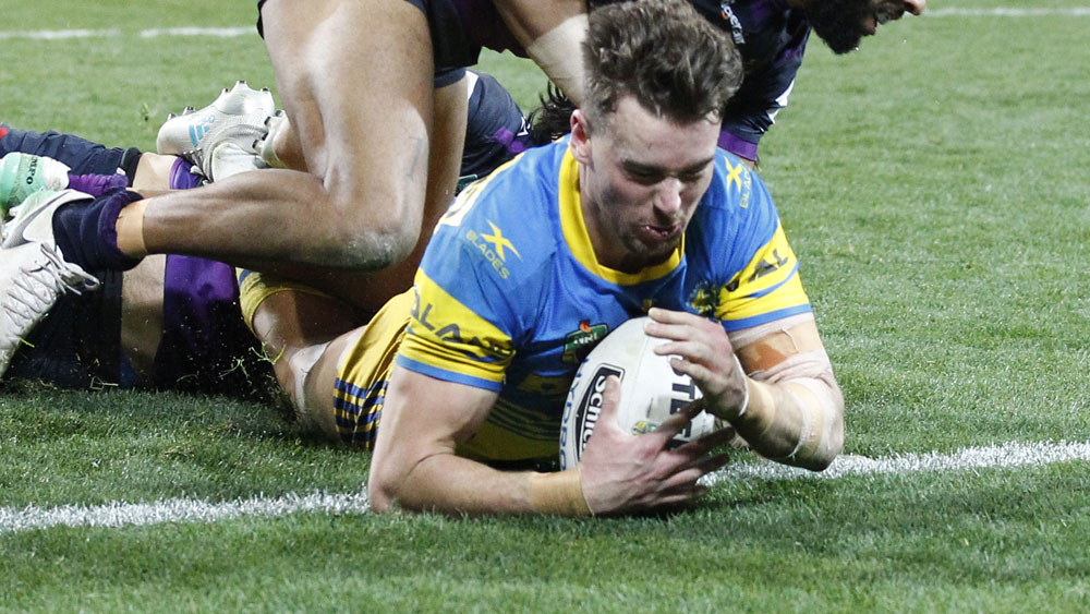 Clint Gutherson was a try scorer for the Eels in their win over Melbourne. (AAP)