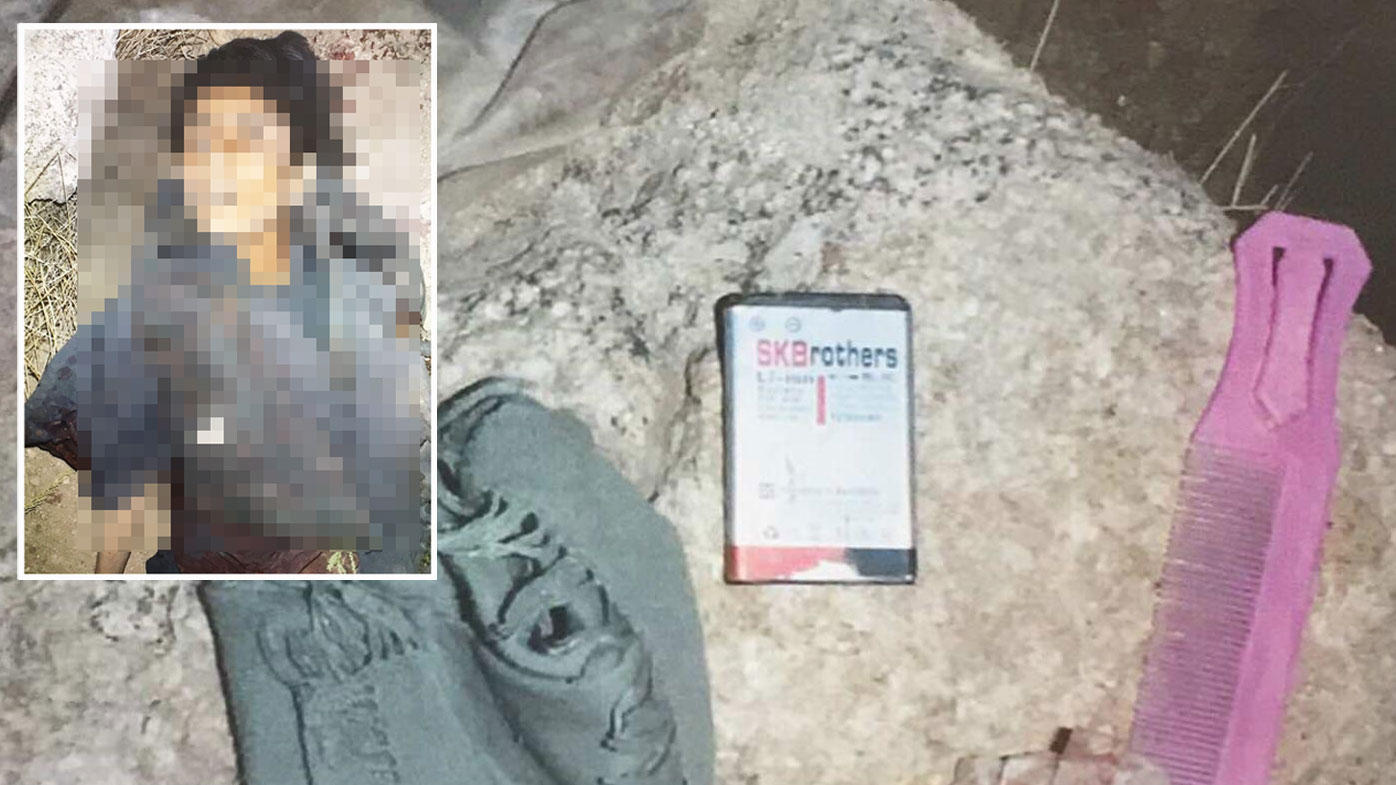 Photos of Khan Mohammed's body and the contents of his pockets. (ABC)
