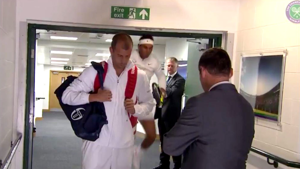 Rafael Nadal whacks head on door frame moments before day seven Wimbledon clash