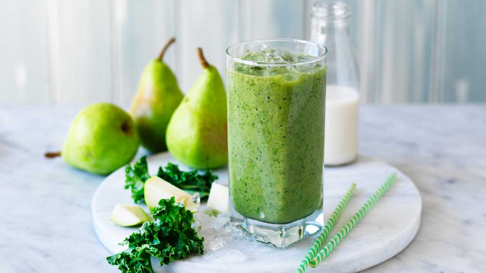 """Recipe:<a href=""""http://kitchen.nine.com.au/2017/07/11/16/39/green-kale-and-pear-smoothie"""" target=""""_top"""">Green kale and pear smoothie</a>"""