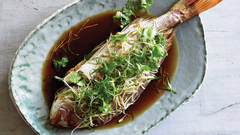 Adam Liaw's steam oven snapper with ginger and spring onion