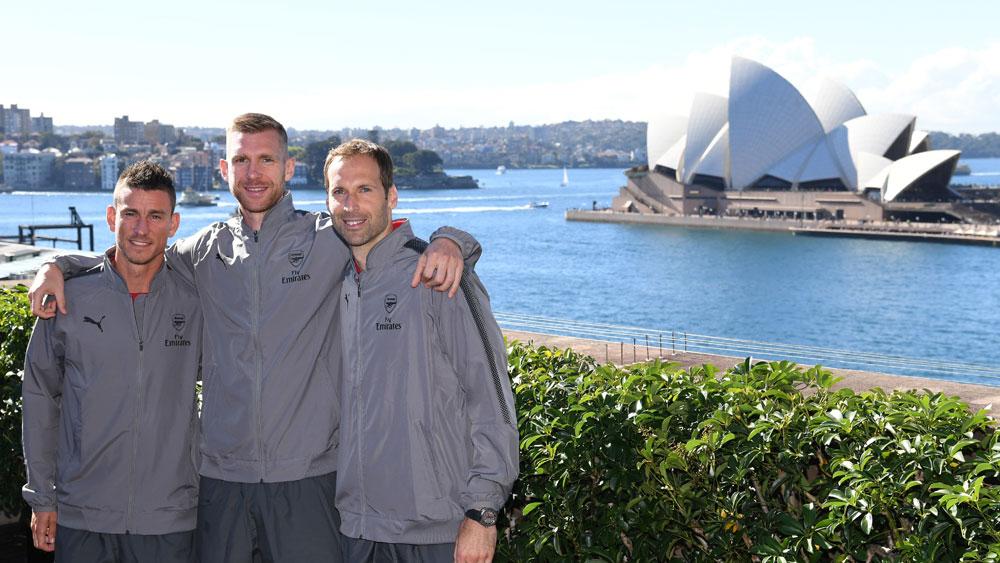 Arsenal trio Laurent Koscielny, Per Mertesacker and Petr Cech in Sydney. (AAP)