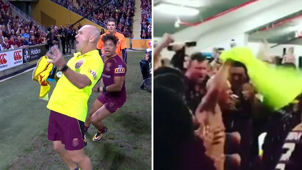 Allan Langer leads the way for Queensland victory celebrations after State of Origin decider