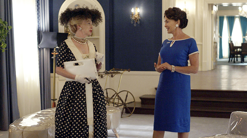 Judy Davis as Hedda Hopper (left) and Jessica Lange as Joan Crawford in 'Feud: Bette and Joan'.