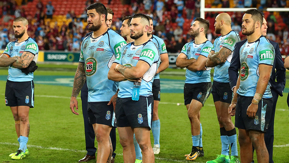 New South Wales players after their loss to Queensland in the Origin decider. (Getty)