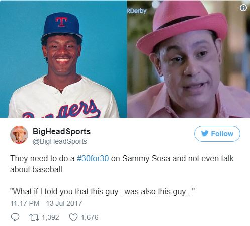 Sammy Sosa's Skin Tone Looks White And Like Pink Panther, Some Say