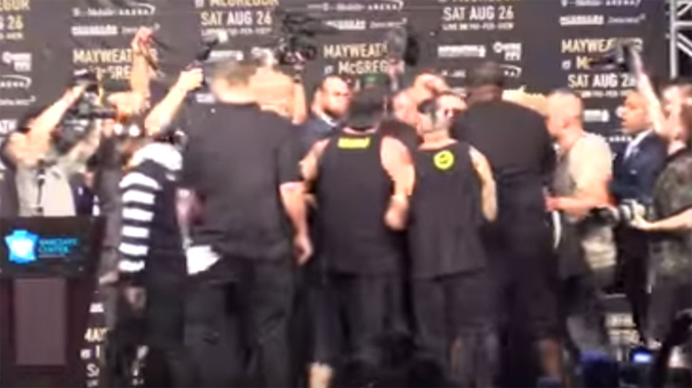 Bodyguards for Mayweather,McGregor nearly come to blows at New York press conference