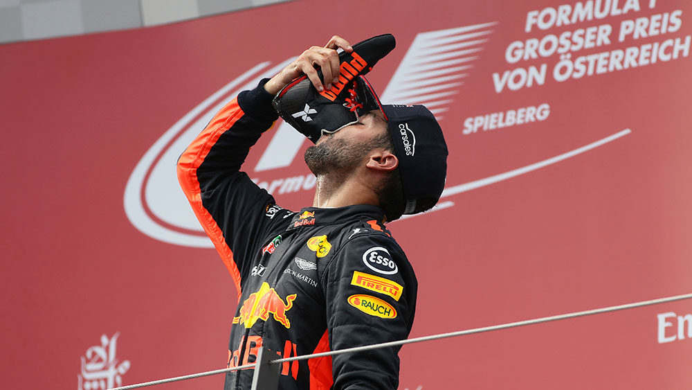 Formula One driver Daniel Ricciardo could give 'shoey' the boot