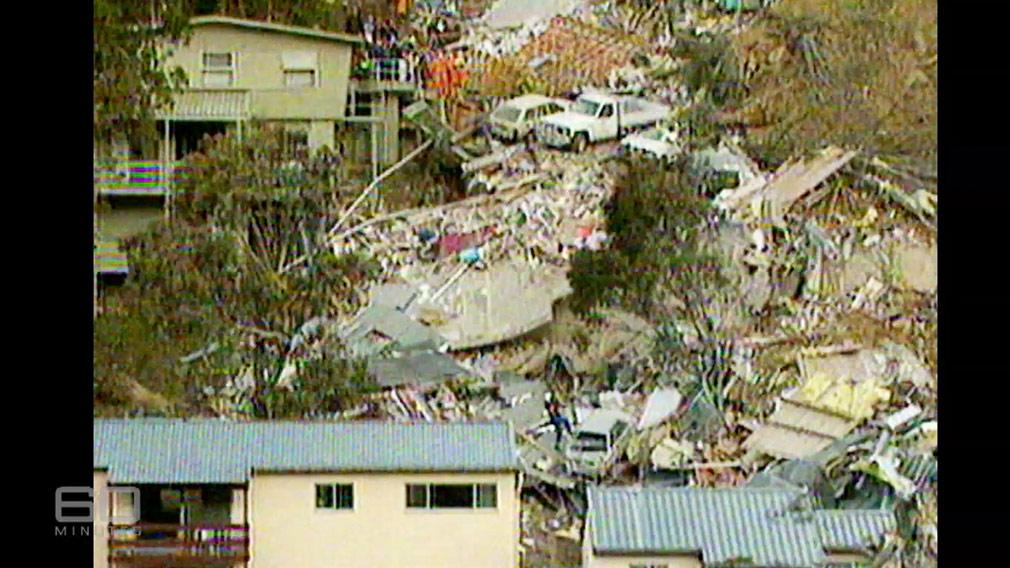 The scene of the Thredbo landslide. (60 Minutes)