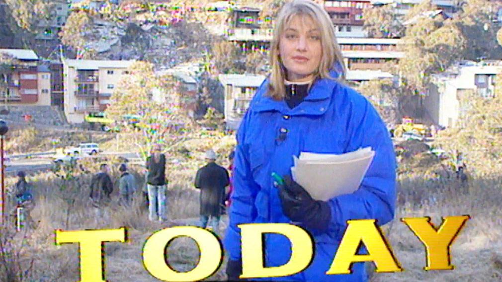 Tara Brown reporting on the landslide in 1997. (60 Minutes)