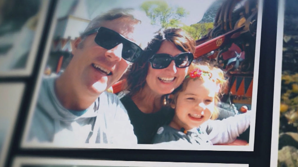 Stuart Diver and his life wife Rosanna Cossettini with their daughter Alessia. (60 Minutes)