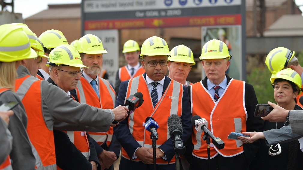 Mr Gupta at Whyalla steelworks today. (AAP)