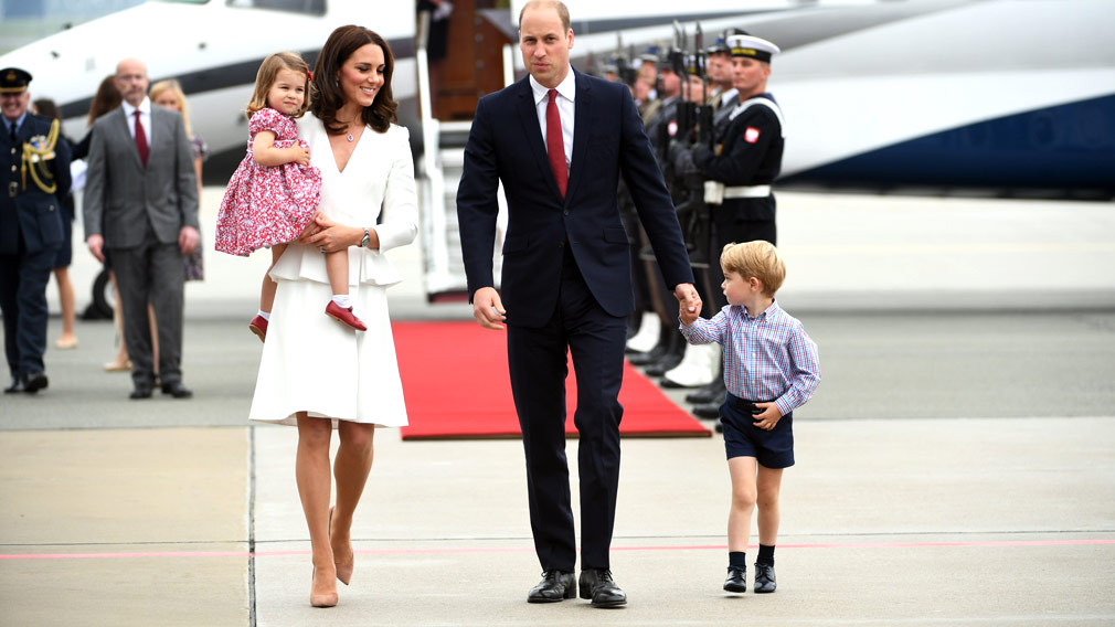 The Duke and Duchess of Cambridge arrive in Poland with their children Charlotte and George. (AAP)