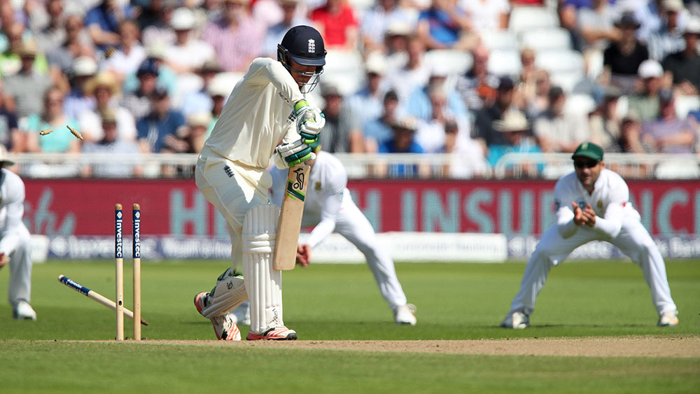 England opener Keaton Jennings is dismissed. (AAP)
