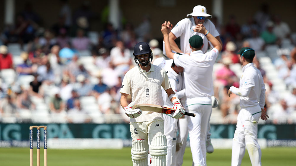 South Africa celebrates the dismissal of England's Mark Wood. (AAP)