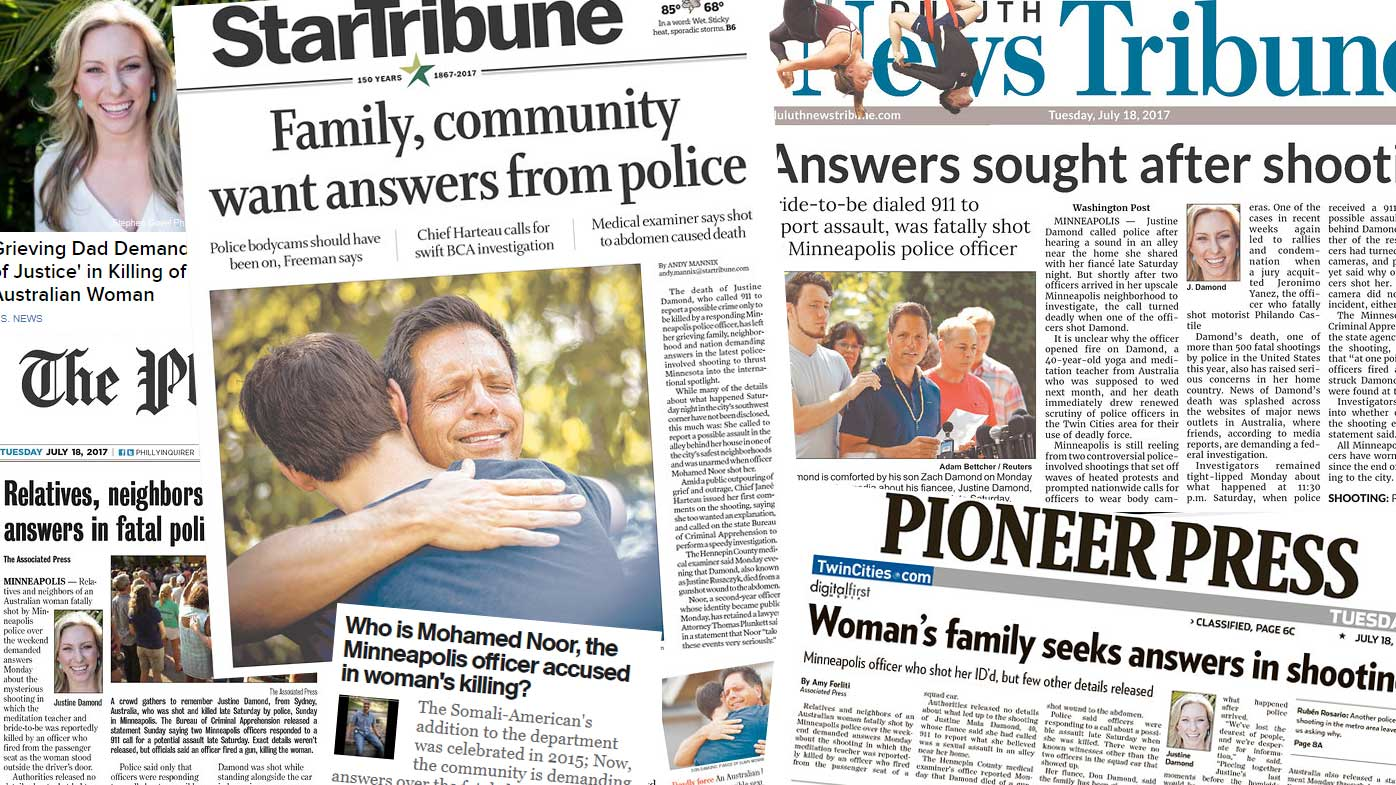 Justine Ruszczyk's death makes front-page news in US