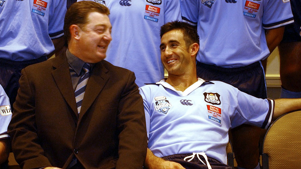Phil Gould and Andrew Johns during the 2002 State of Origin series. (AAP)