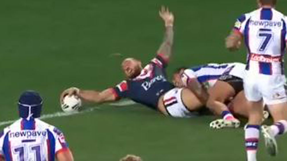 Sydney Roosters winger Blake Ferguson crosses for a try against the Knights. (Fox Sports)