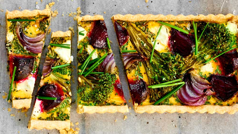 """Recipe:<a href="""" http://kitchen.nine.com.au/2017/05/24/11/24/beetroot-broccoli-goats-cheese-and-chive-tart"""" target=""""_top"""" draggable=""""false"""">Beetroot, broccoli, goat's cheese and chive tart</a>"""