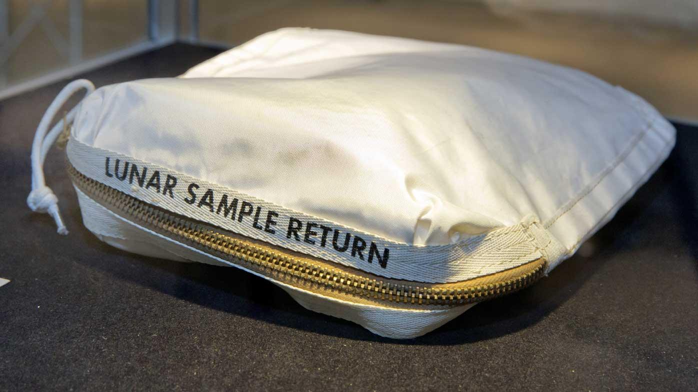 Neil Armstrong's moon dust bag. (AAP)