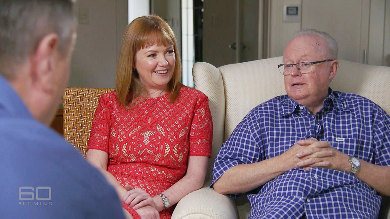 Graham Richardson and wife Amanda talk to Charles Wooley.  (60 Minutes)
