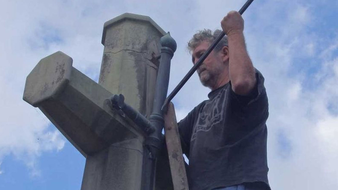 Four men who claim to have been called on by God to desecrate a war memorial have been found guilty of wilful damage.