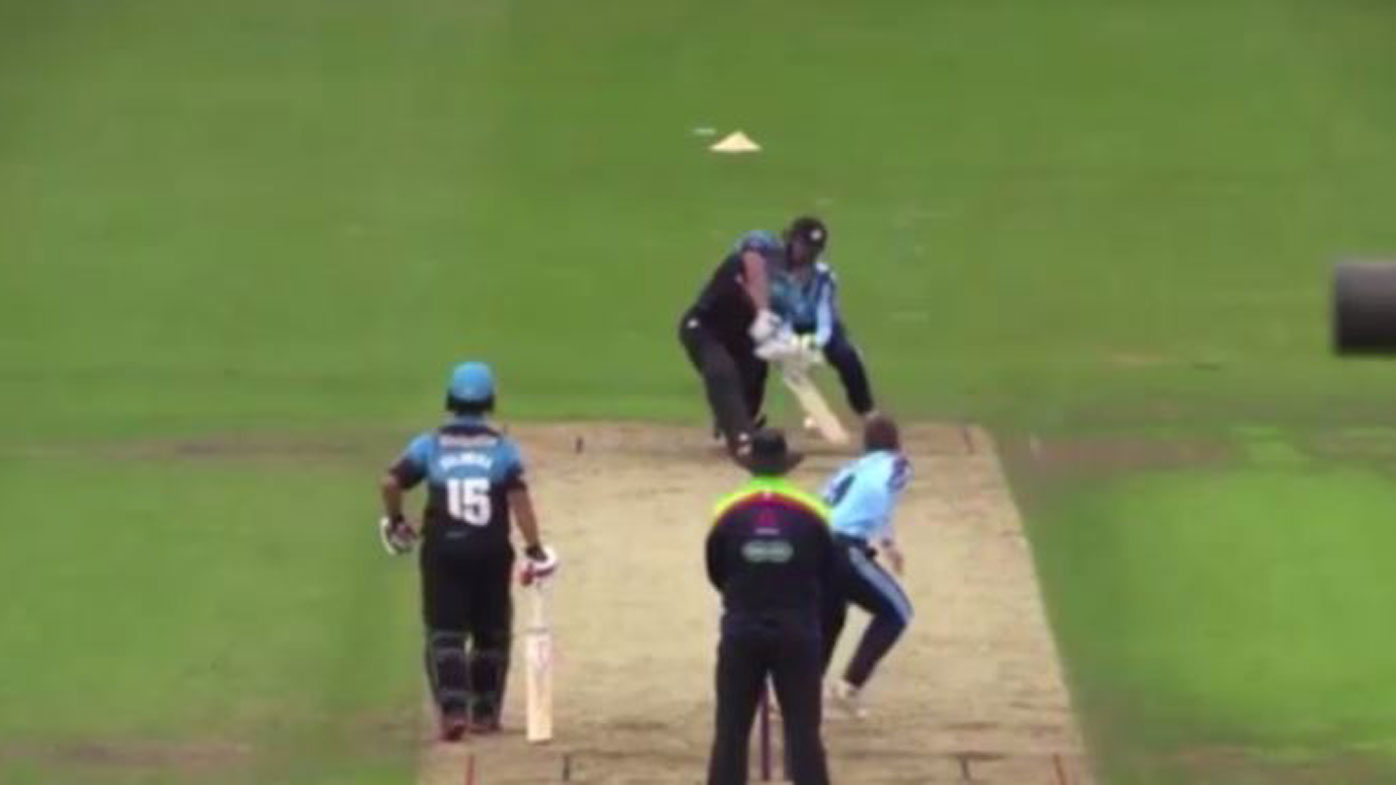 While hapless bowler goes for 37 in one over