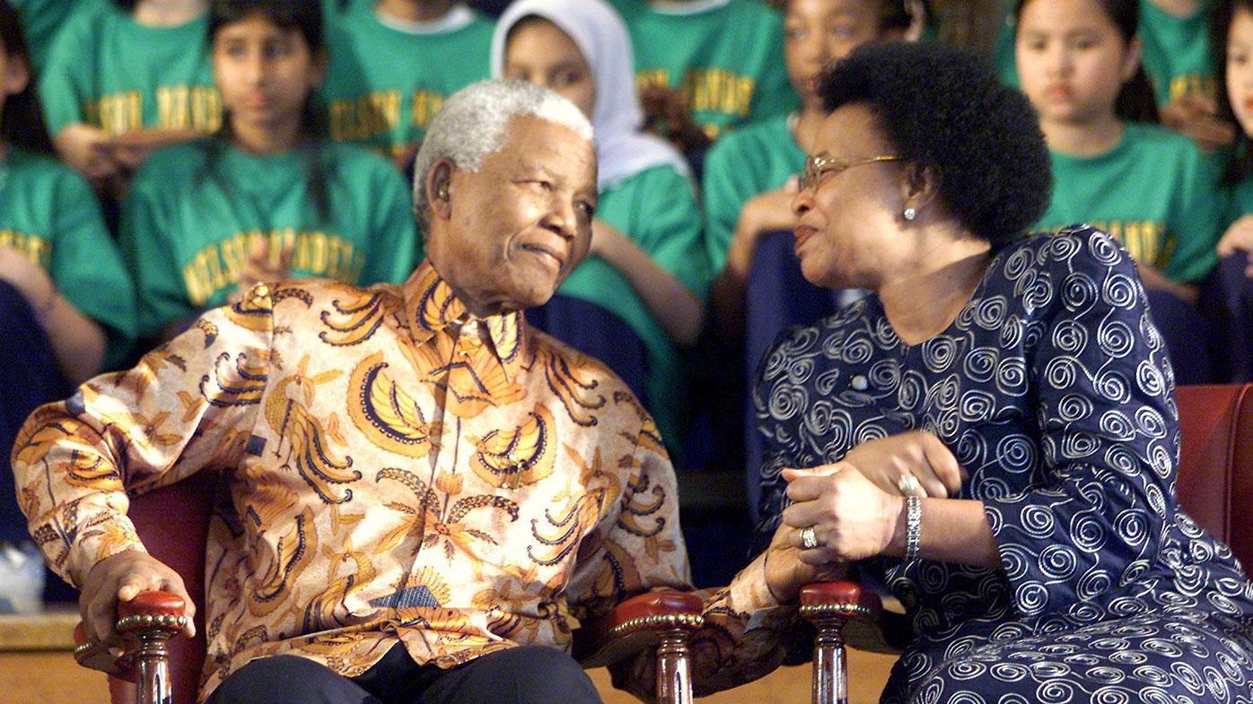 Mandela and his third wife, Graca Machel. Photo: AAP