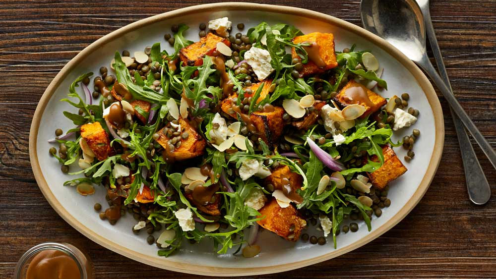 "Recipe: <a href=""http://kitchen.nine.com.au/2017/07/25/17/26/warm-roast-pumpkin-and-lentil-salad"" target=""_top"">Warm roast pumpkin and lentil salad</a>"