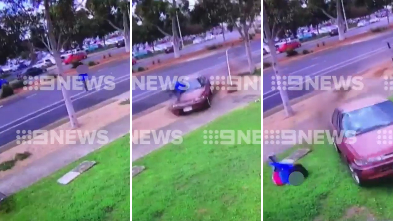 Pedestrian launched into the air by out-of-control car