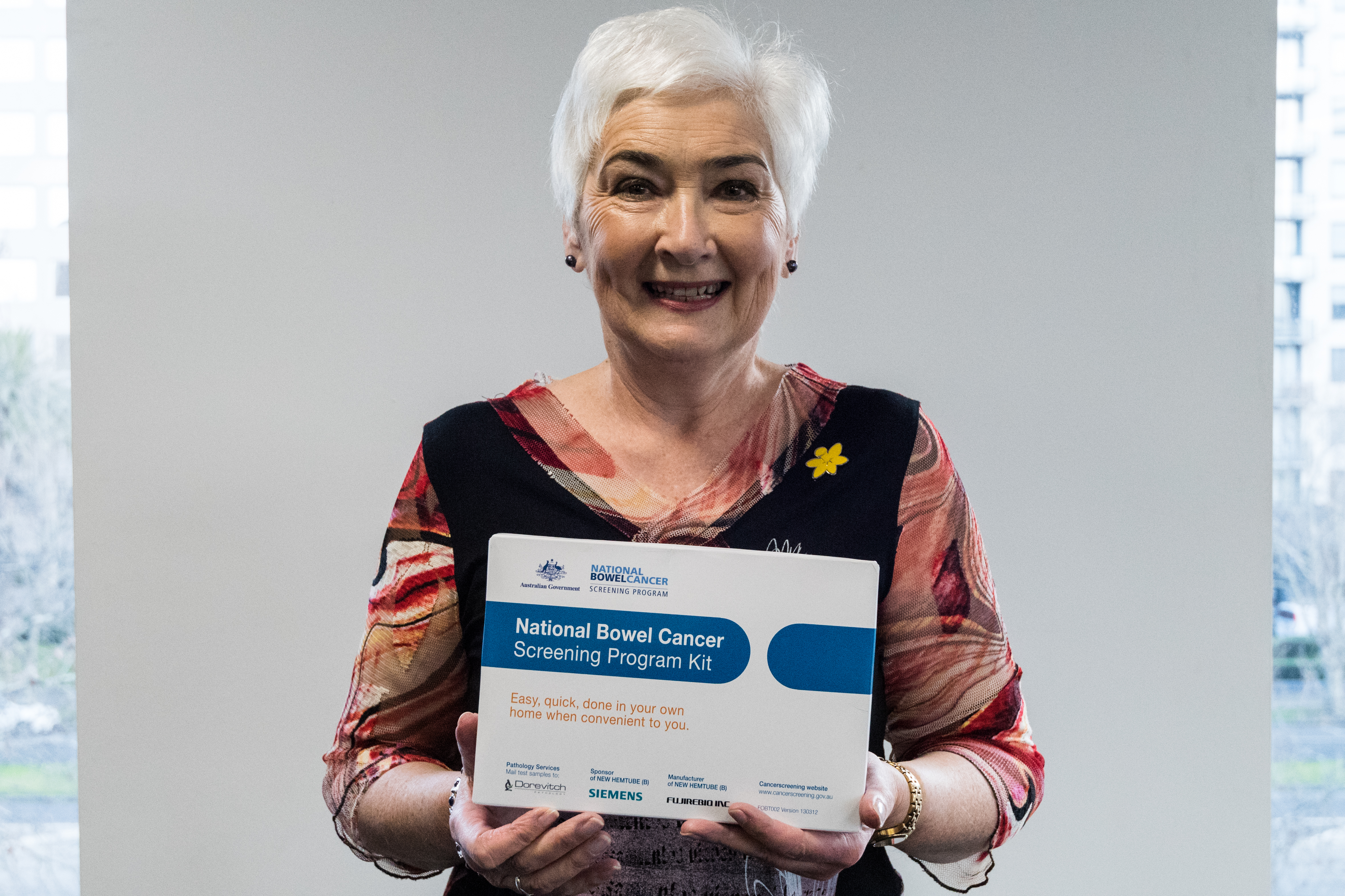 Helen Clapham, 66, with the free testing kit.
