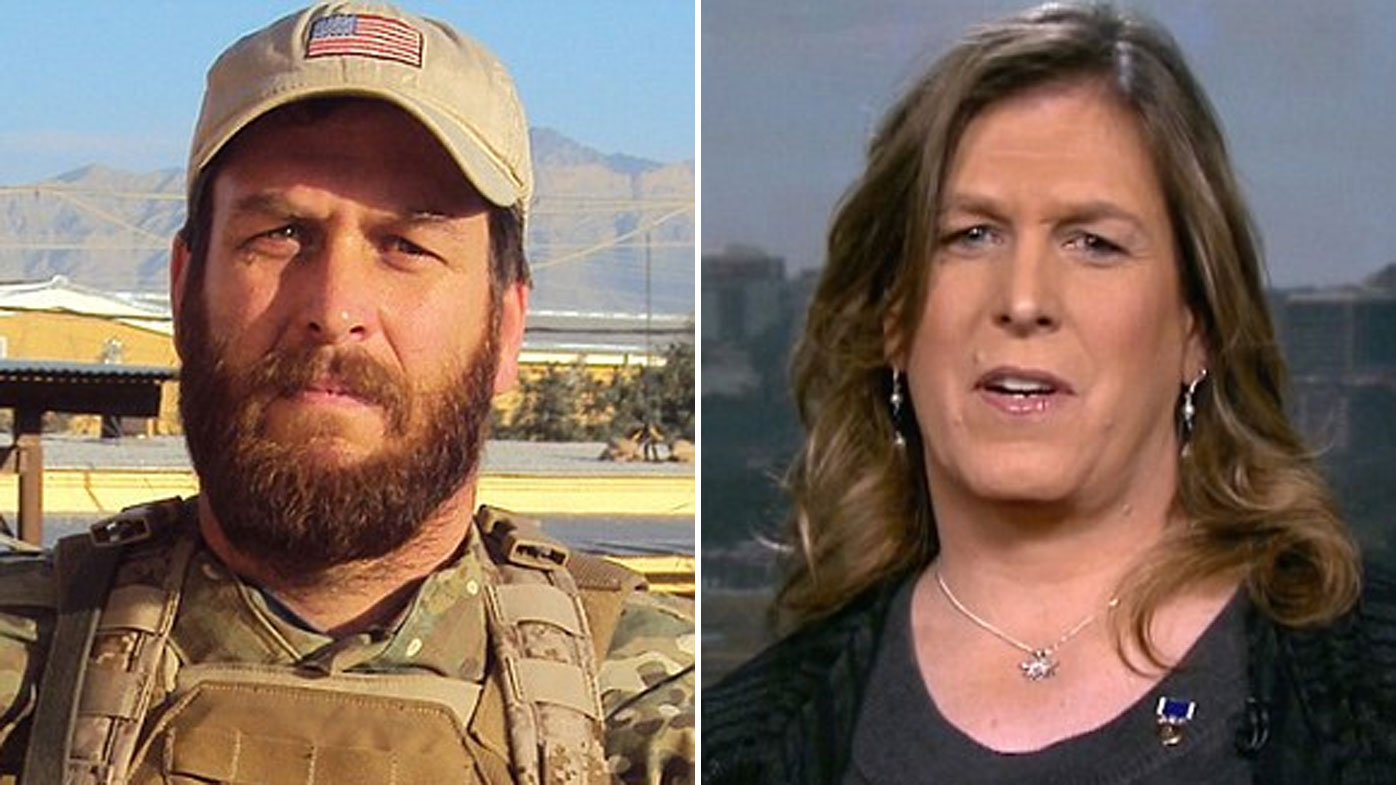 Kristin Beck while in the Navy SEALs, and more recently.