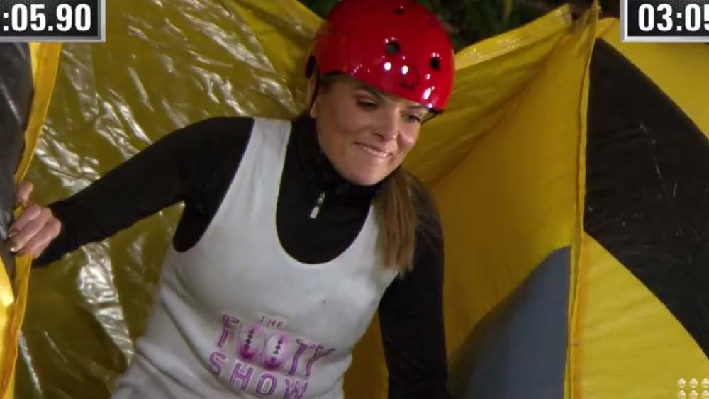 Erin Molan fell off a chair a week ago, but this week was conquering her fear of heights