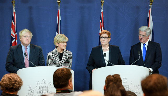 UK Foreign Secretary Boris Johnson, Foreign Minister Julie Bishop, Defence Minister Marise Payne and UK Defence Secretary Michael Fallon in Sydney. (AAP).