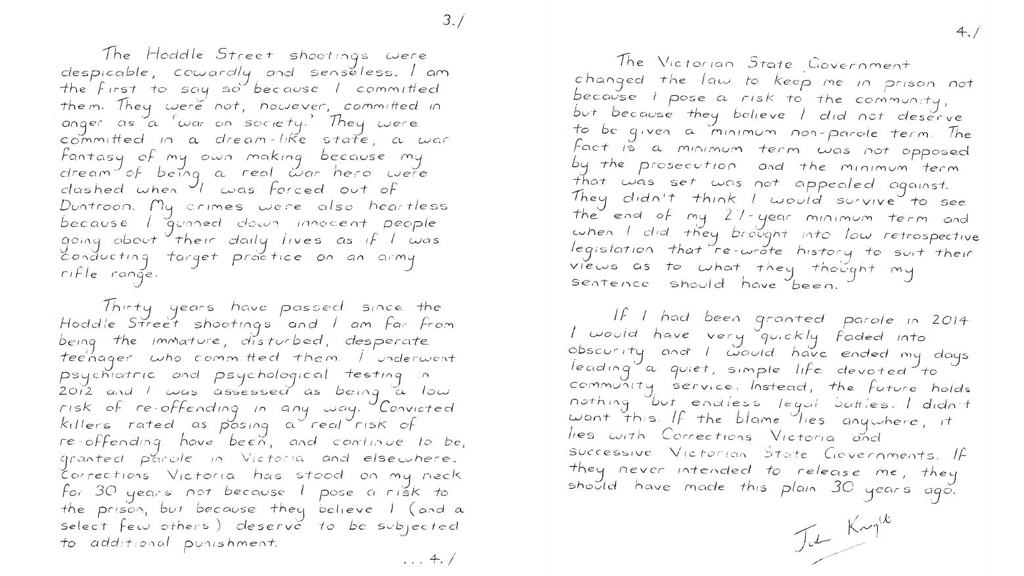 The letter written by Julian Knight from prison.