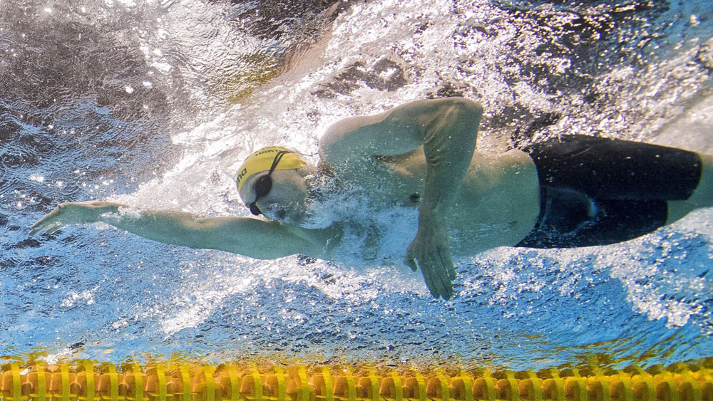 Mack Horton during the heats of the men's 1500m freestyle. (AAP)