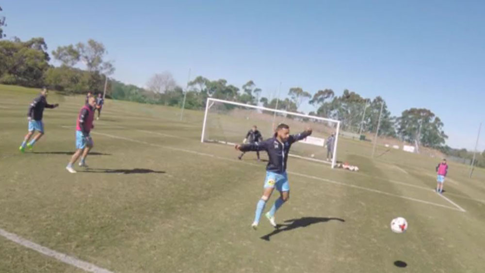Sydney FC captain Alex Brosque scores stunning back-heel goal at Sky Blues training session
