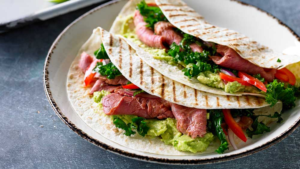 Chipotle corned beef, kale, capsicum and lime tortilla wraps