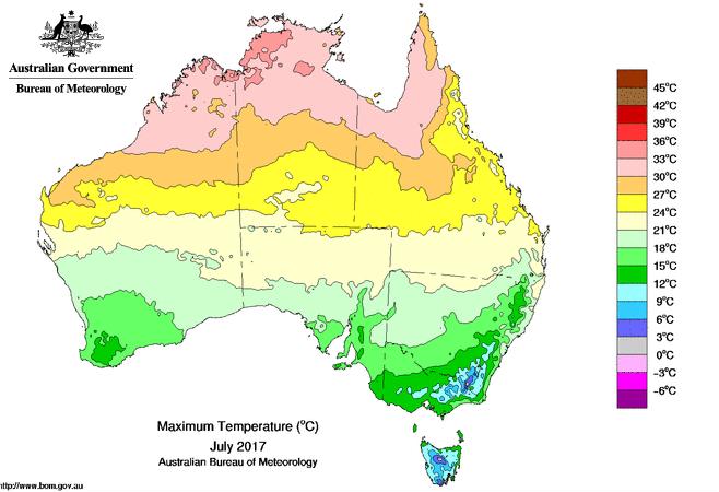 Winter heat australia records its hottest july in history - Bureau of meteorology australia ...