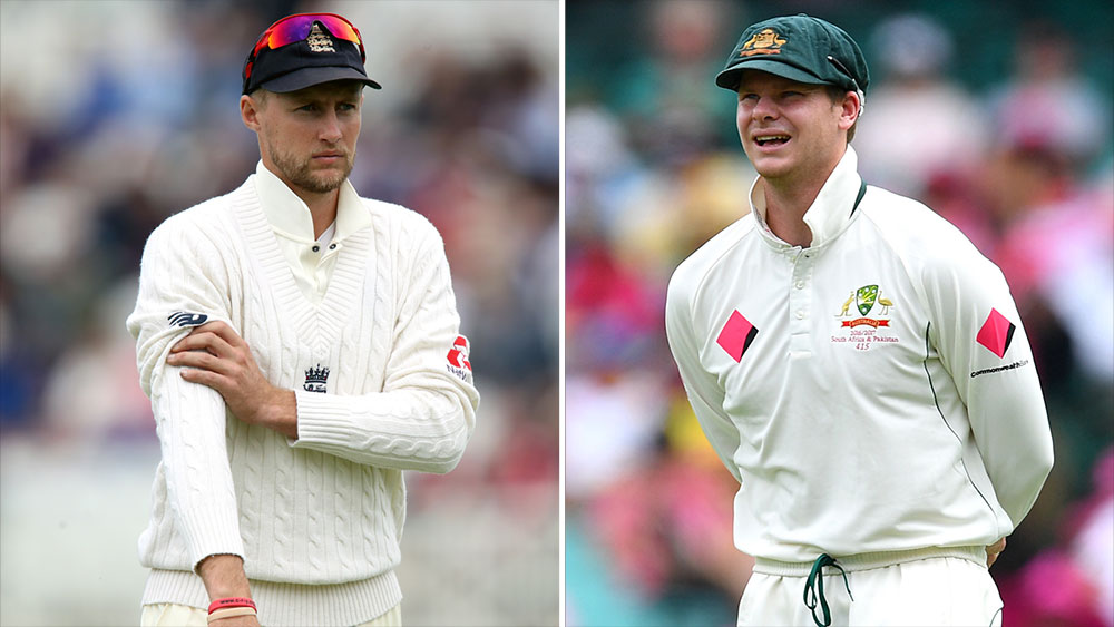 Ashes captains Joe Root (left) and Steve Smith. (AAP)