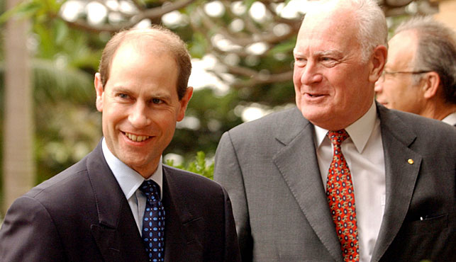 Former Governor-General Peter Hollingworth with Prince Edward in 2002. (Photo: AAP).