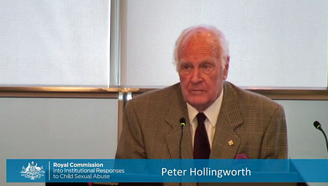 Peter Hollingworth gives evidence to a hearing of the royal commission into child sexual abuse in 2015. (Photo: AAP).