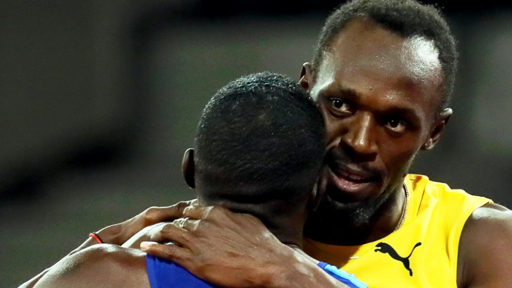 Usain Bolt placed third in his last ever solo 100m race. (AAP)