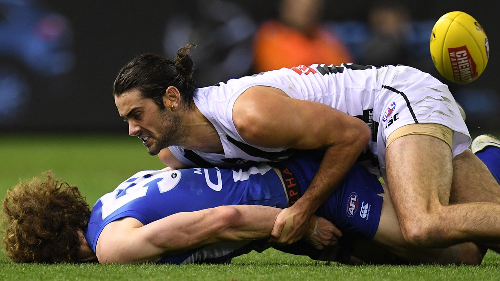Ben Brown was helpless to prevent his head from being slammed into the turf. (AAP)