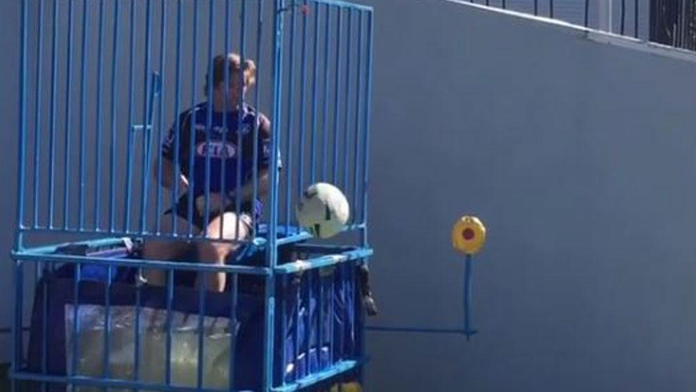 Canterbury coach Des Hasler falls victim to the 'Dunk Tank' at Bulldogs training