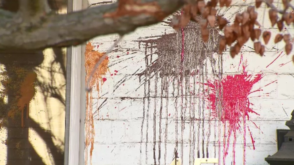 A multitude of paint splotches marred Mr Doyle's house. (9NEWS)
