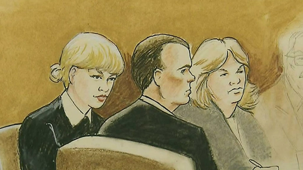 A sketch of Taylor Swift with her legal team in Denver.