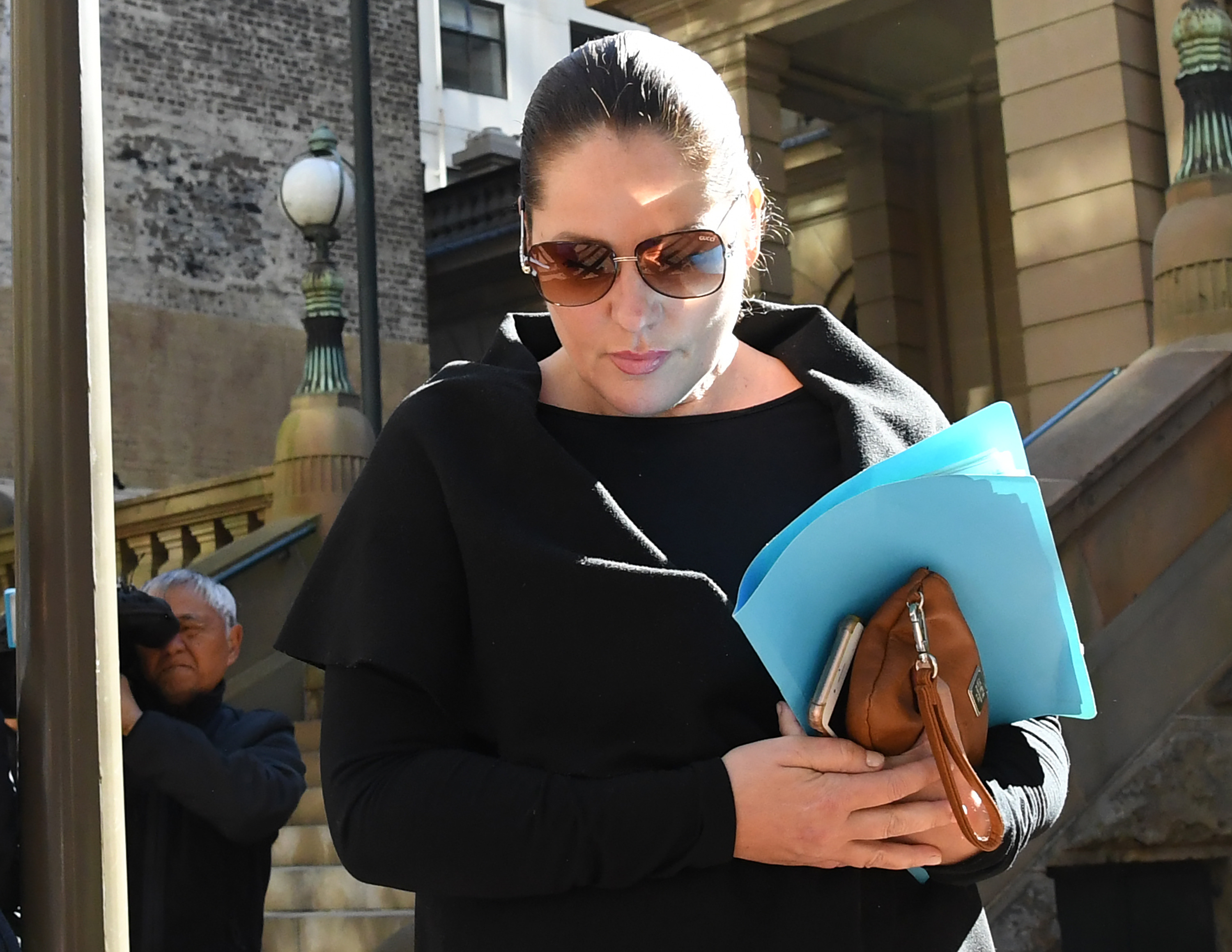 Melissa Taylor, the mother of Daniel Ibrahim, leaves the Central Local Court. (AAP)