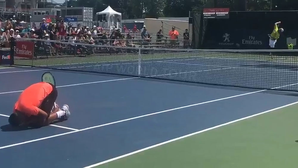 Nick Kyrgios during his fun and game in Montreal.